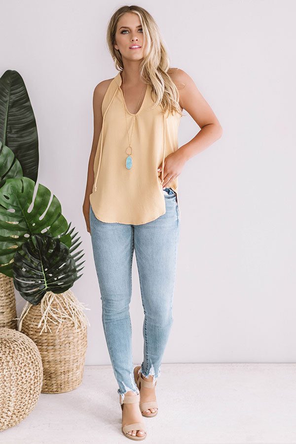Cocktails And Kisses Shift Tank In Primrose Yellow