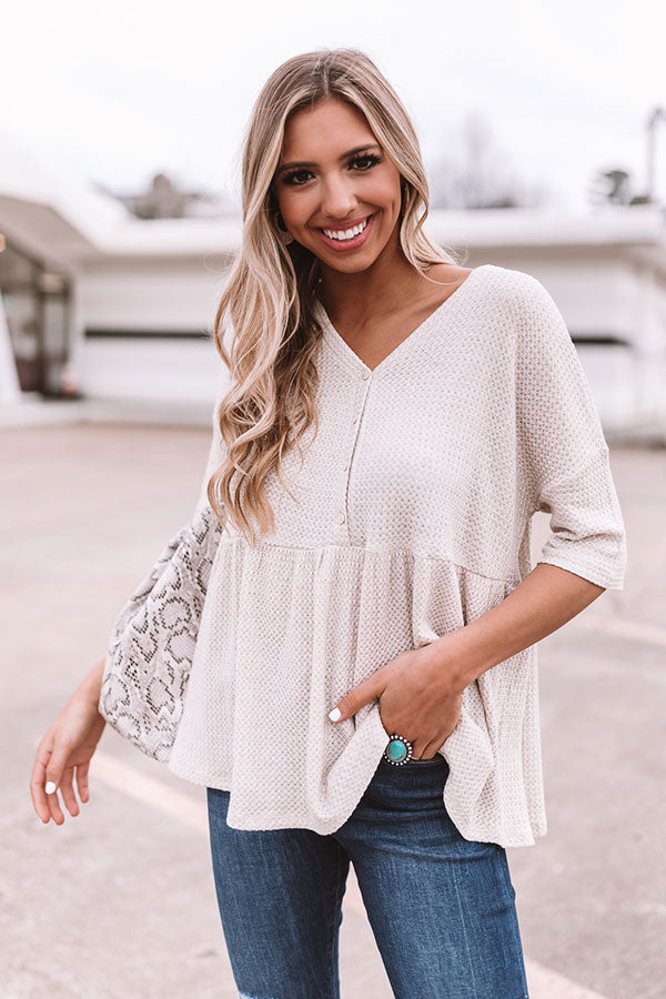Something Special Waffle Knit Top In Warm Taupe