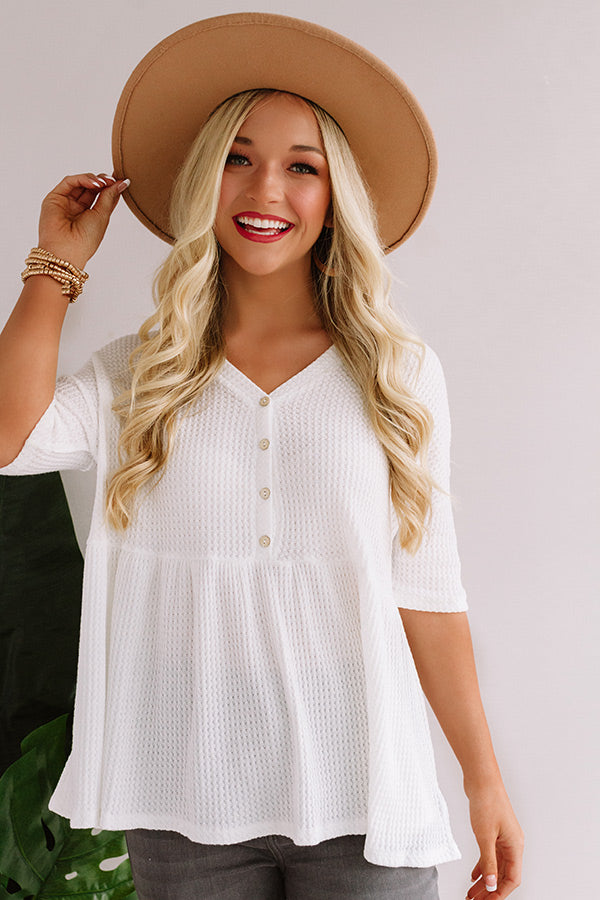 Something Special Waffle Knit Top In White