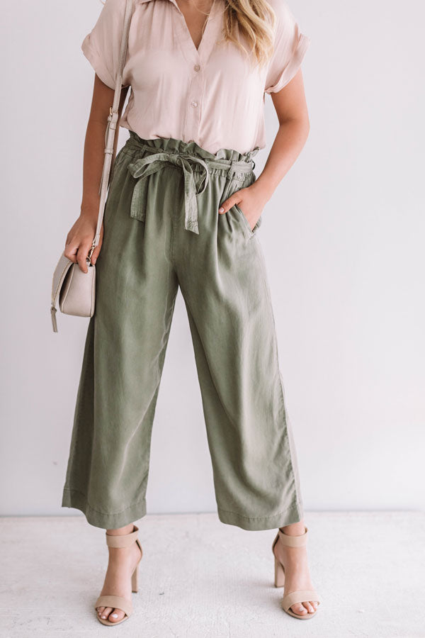 The Brooke High Waist Pants In Sage
