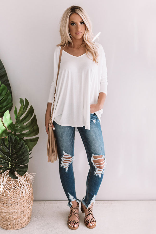 Classic And Cute Shift Top In Ivory
