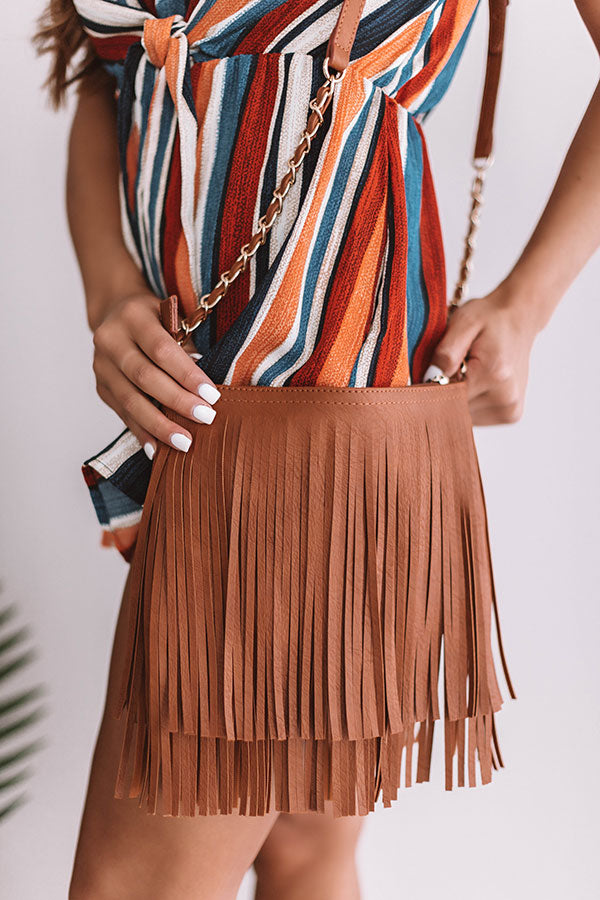 Right On Cue Fringe Crossbody In Brown