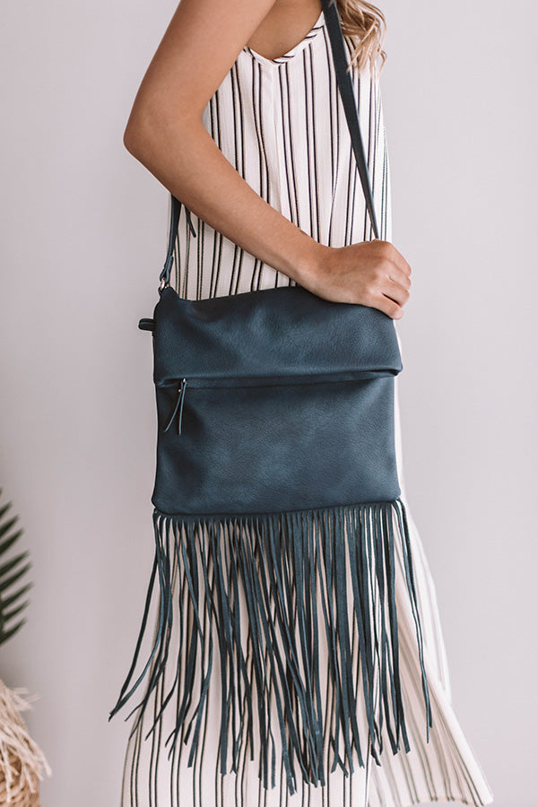 Gorgeous Companion Fringe CrossBody In Navy