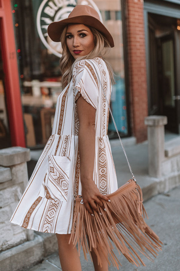 Fab And Fringe Crossbody In Tan