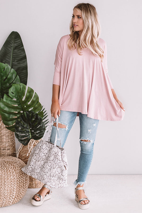 Classic And Cute Shift Top In Blush