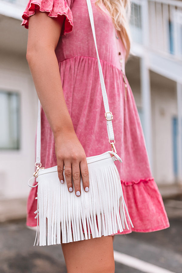 Right On Cue Fringe Clutch In White