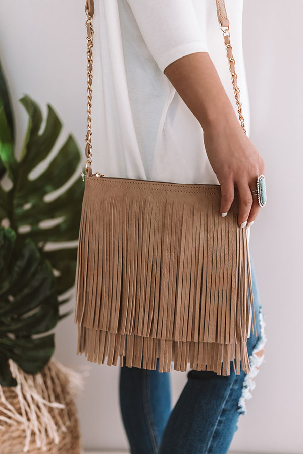 Right On Cue Fringe Crossbody In Iced Latte
