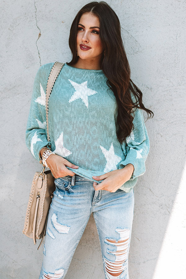 Shooting Star Knit Sweater In Ocean Wave
