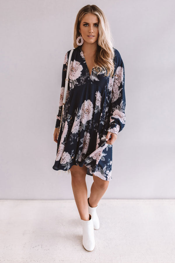 All For Floral Shift Dress in Riverside