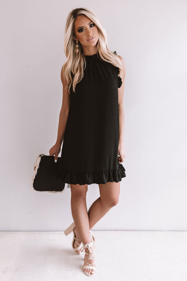 Yachts and Kisses Shift Dress in Black