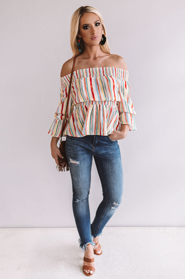 First Class to Spain Off Shoulder Top