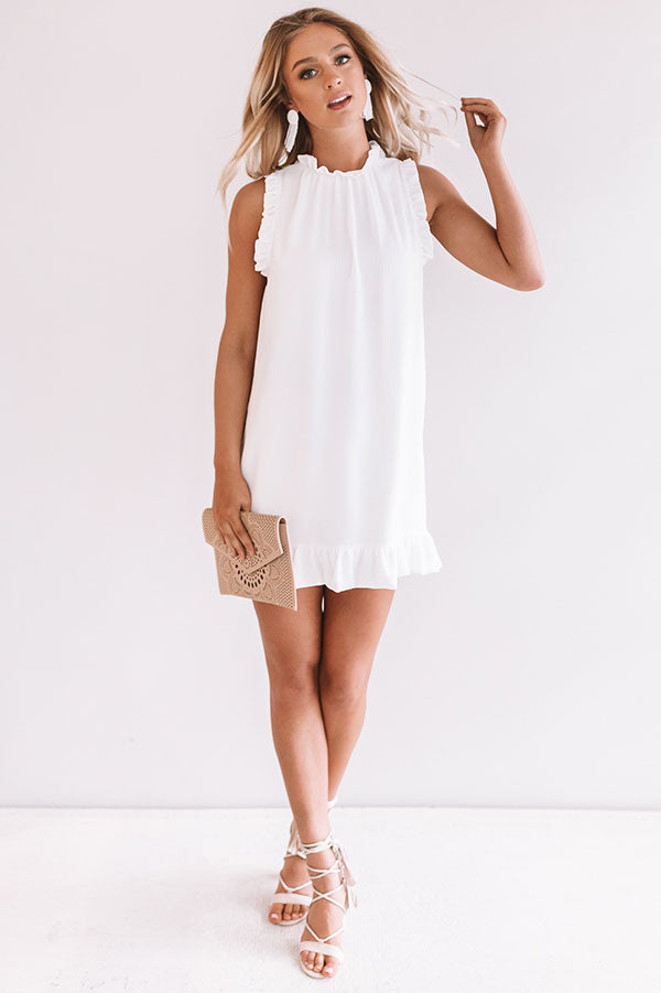 Yachts and Kisses Shift Dress in White