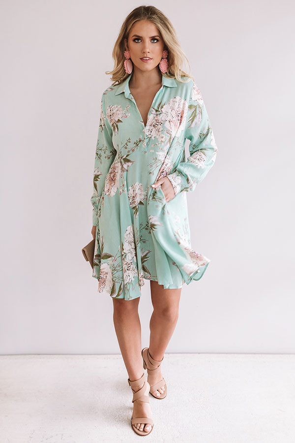 All For Floral Shift Dress in Mint
