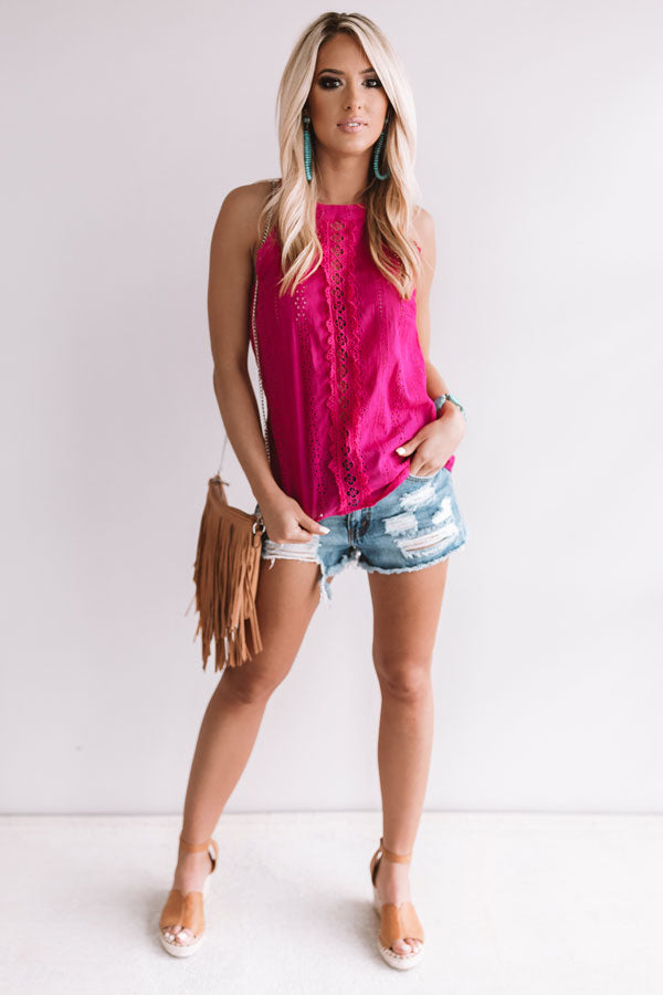 Sunny Weather Eyelet Tank in Hot Pink