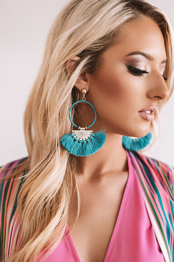 Cancun Calling Earrings In Ocean Blue