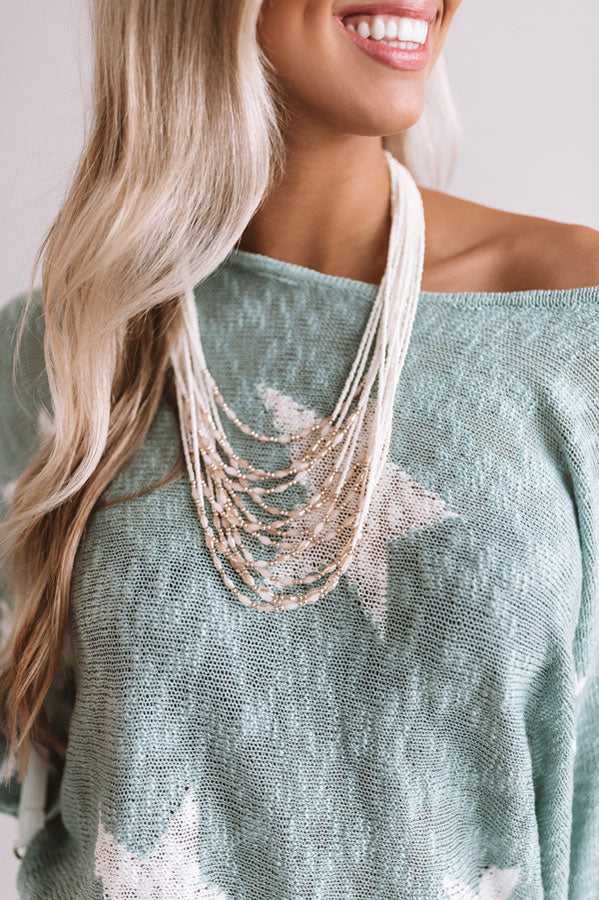 All The Rage Beaded Necklace in Cream