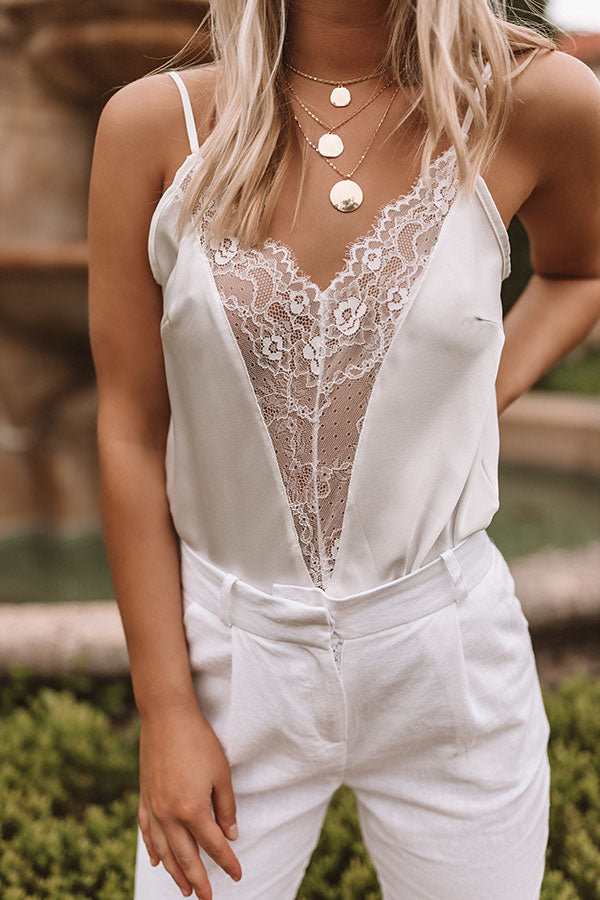 Aruba Nights Lace Tank In  White