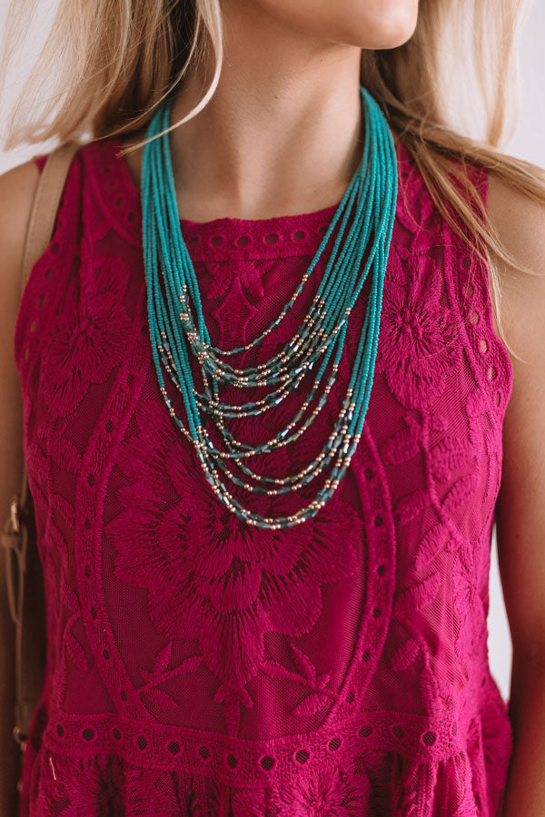 All The Rage Beaded Necklace in Turquoise
