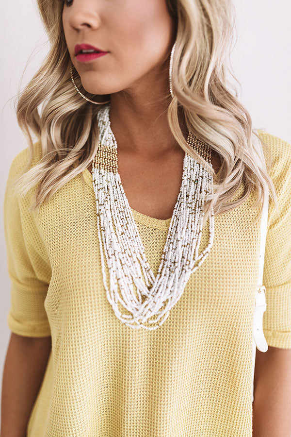 Just Breezy Beaded Necklace in White