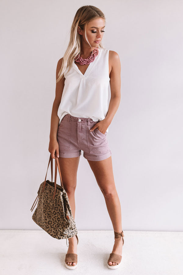 The Baker High Waist Shorts in Vineyard Grape
