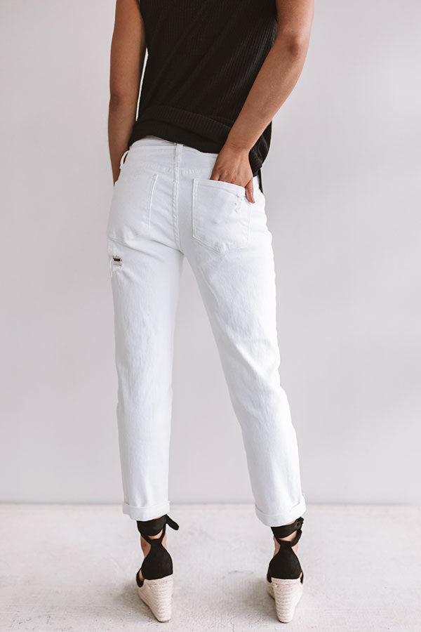 The Luna Midrise Distressed Relaxed Skinny in White