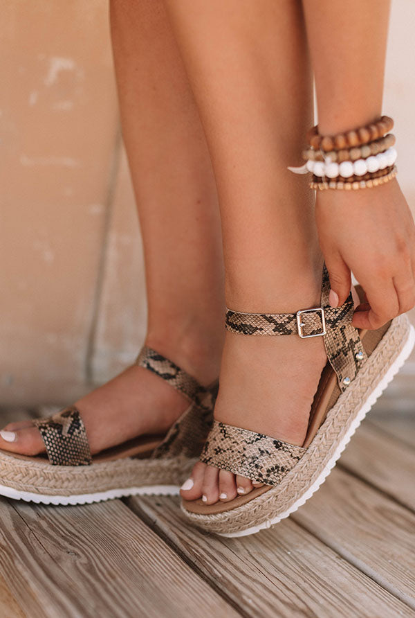 The Kaylee Espadrille In Snake Print