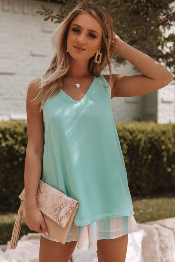Sunny Vibes Only Shift Tank In Mint