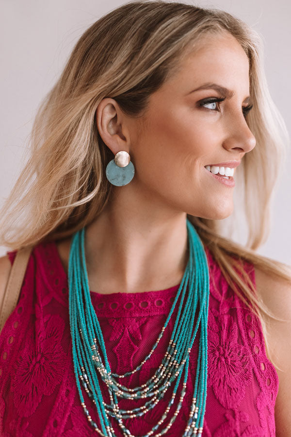 Party In Manhattan Earrings In Aqua