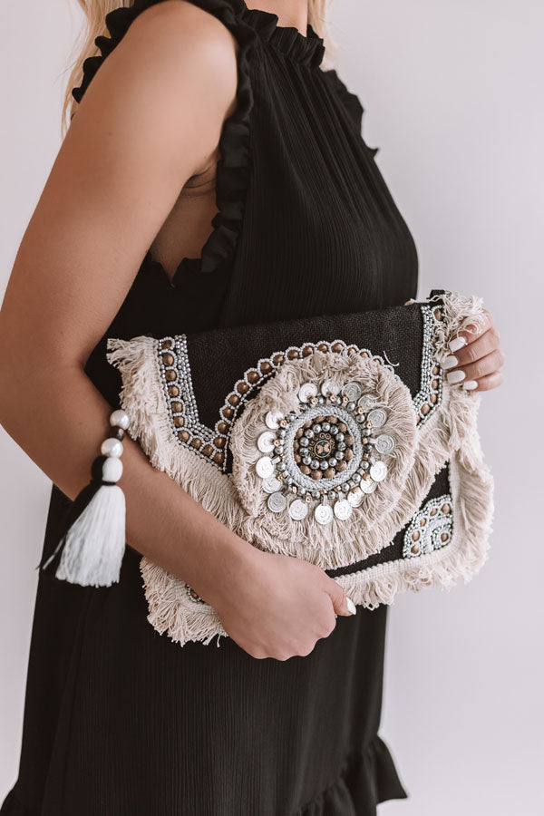 Boho Bliss Embellished Clutch In Black