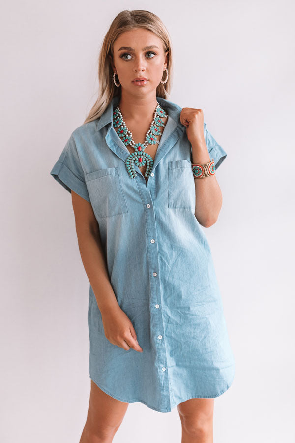 Strolls And Kisses Chambray Dress