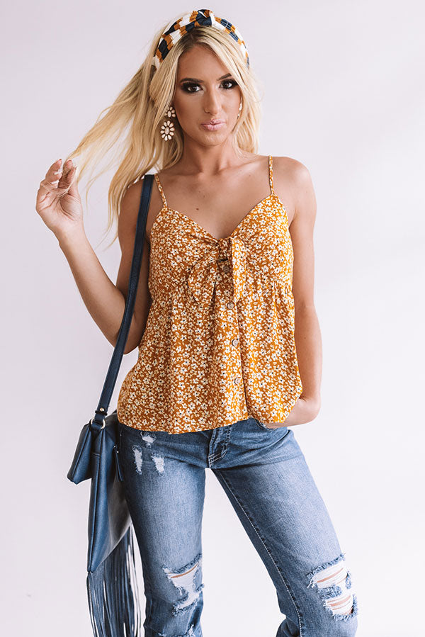 Wild Flowers And Whimsy Shift Tank In Mustard