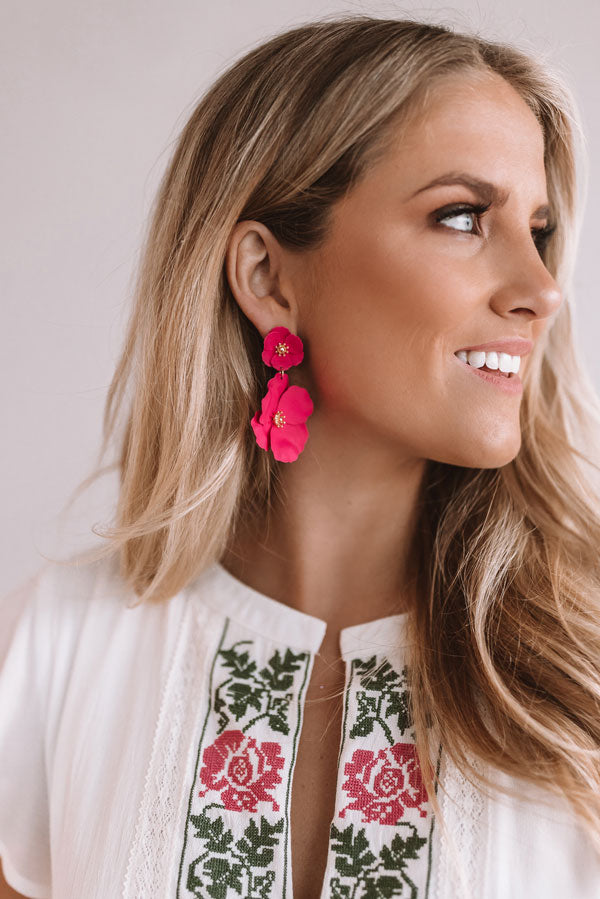 Floral Confessions Earring in Hot Pink