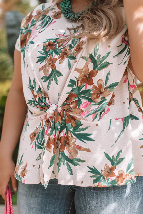 Botanical Bliss Tie Top In Cream