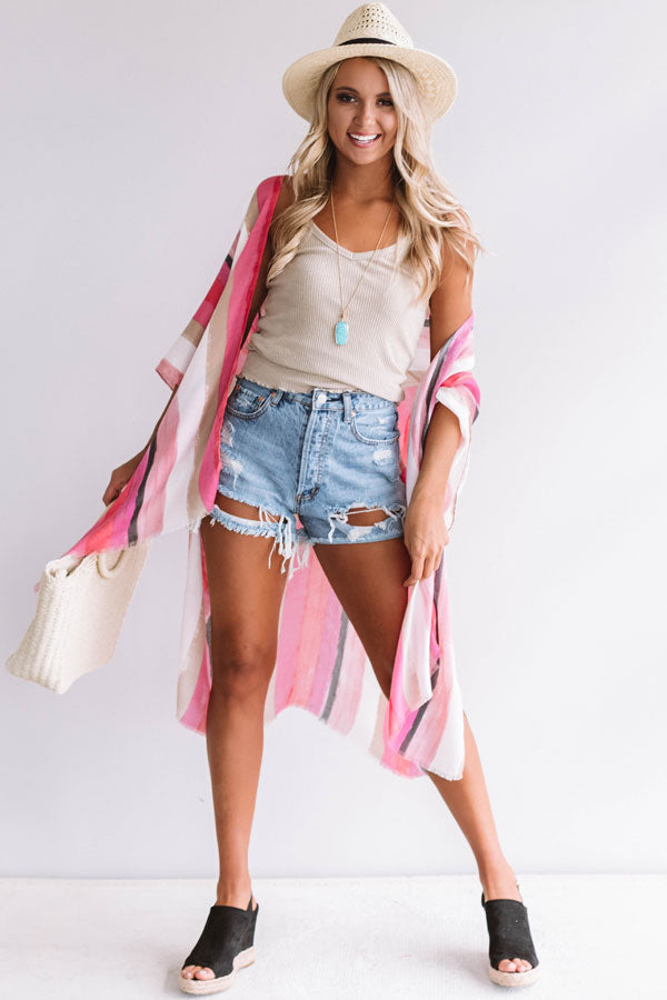 Stay Breezy Stripe Overlay In Pink