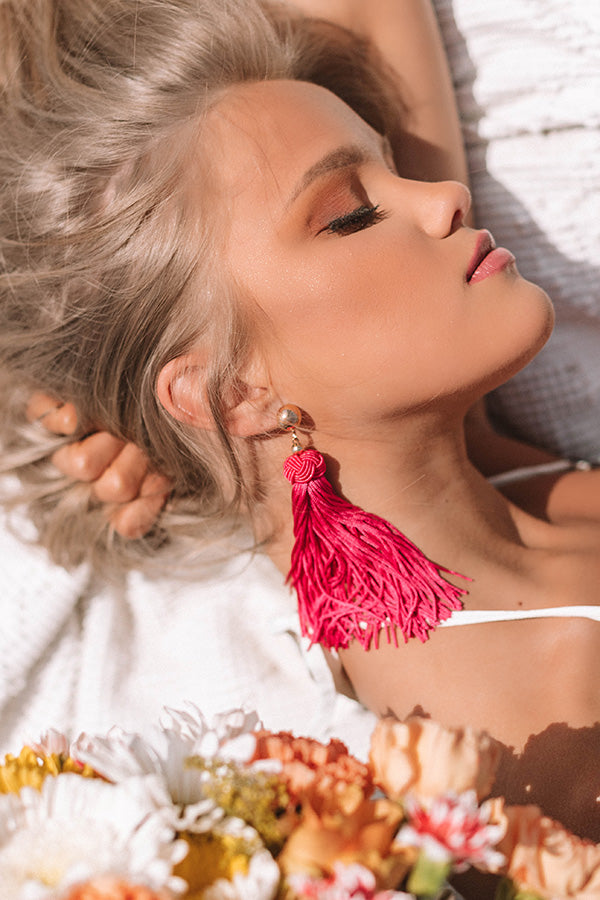 Cabanas And Cocktails Tassel Earrings In Hot Pink