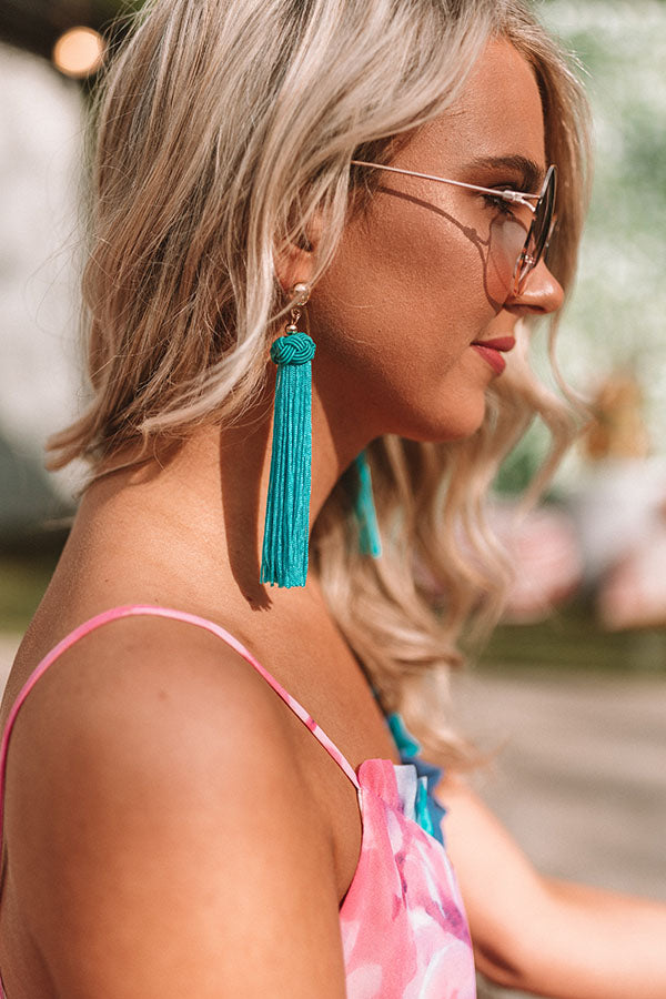Cabanas And Cocktails Tassel Earrings In Turquoise