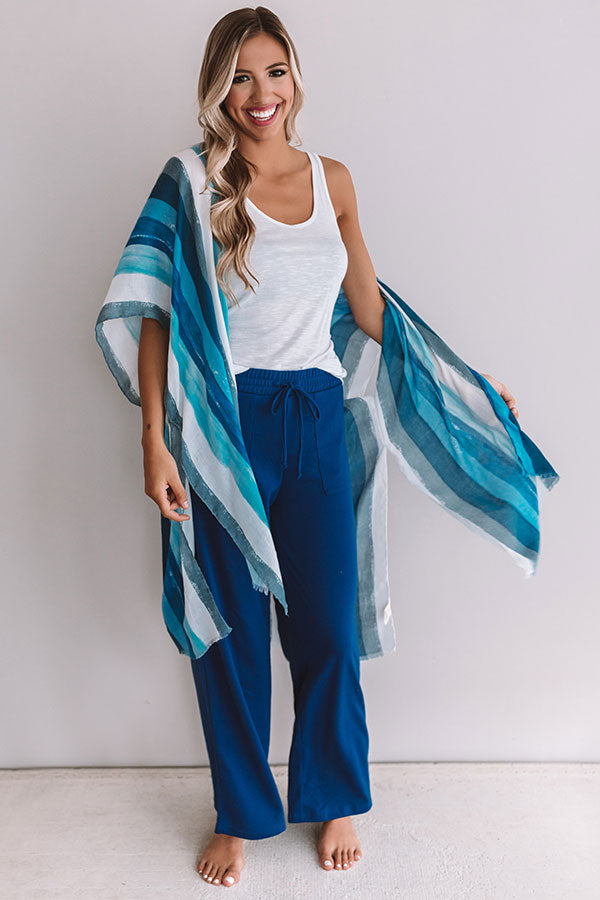 Stay Breezy Stripe Overlay In Blue