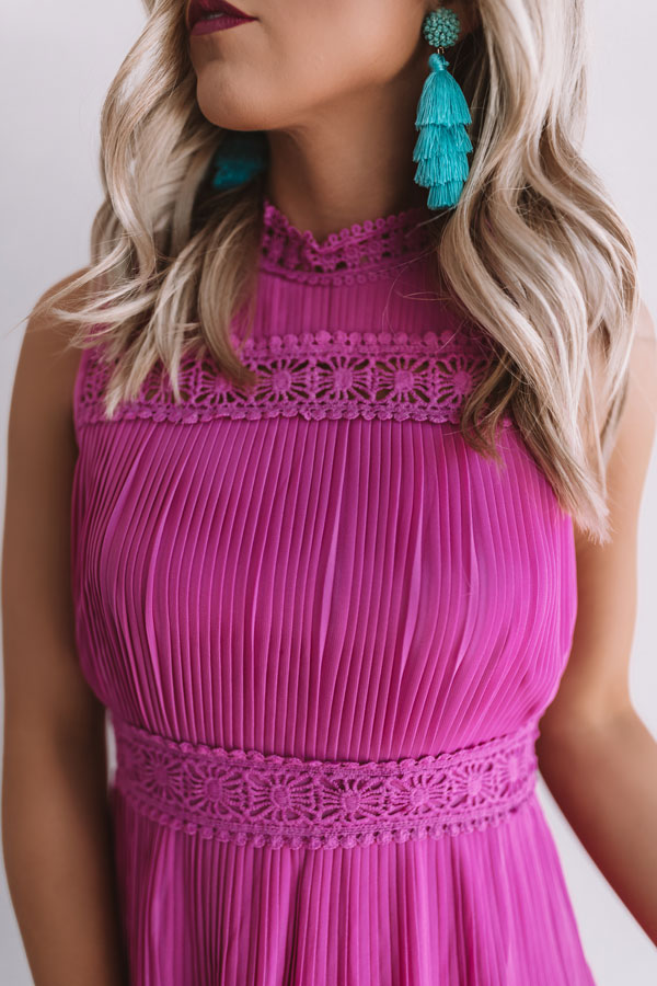 Dreamy Celebration Pleated Dress In Fuchsia