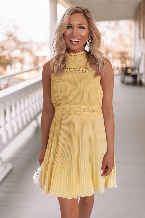 Dreamy Celebration Pleated Dress In Yellow