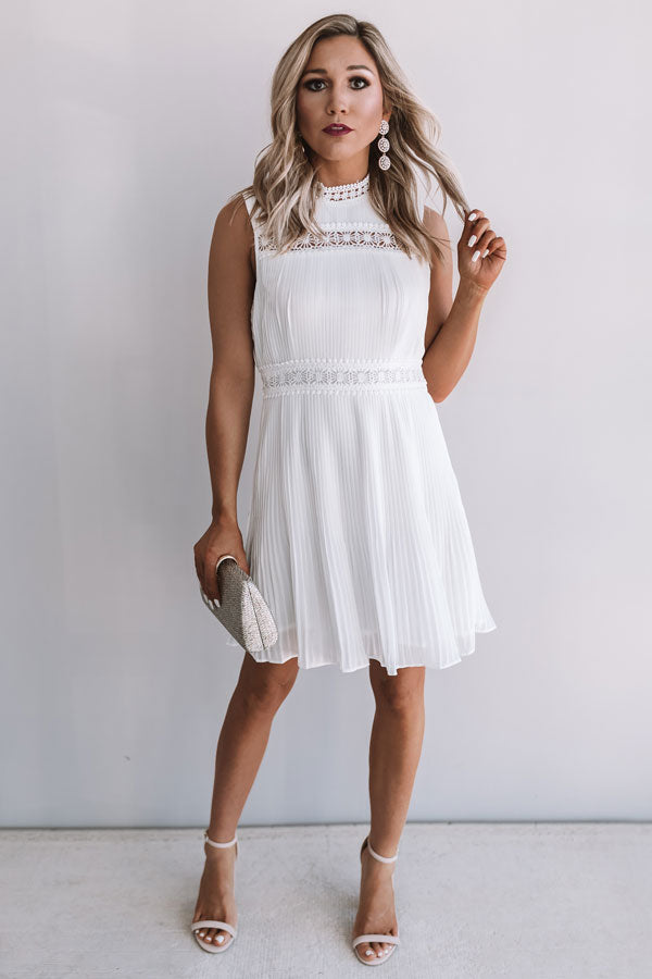 Dreamy Celebration Pleated Dress In White
