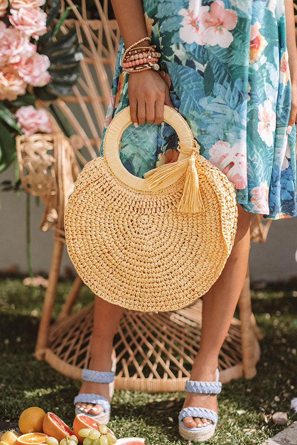 Amalfi Adventure Woven Tote in Yellow
