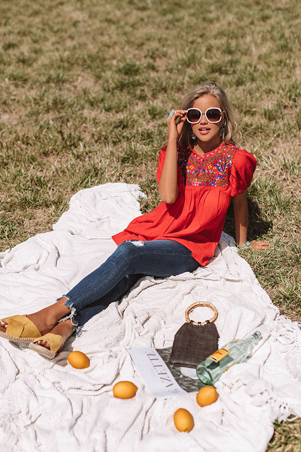Barefoot in Barcelona Embroidered Top in Red