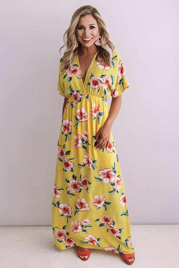 Waves In Maui Floral Maxi In Marigold