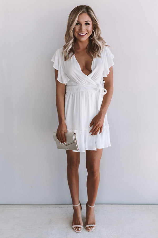Magic At Midnight Wrap Dress In White