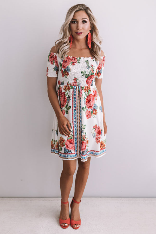 Talk Floral To Me Smocked Off Shoulder Dress