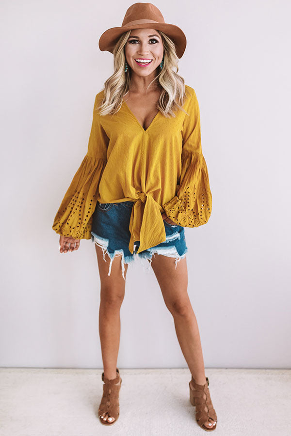 Chic Occasion Tie Top in Mustard