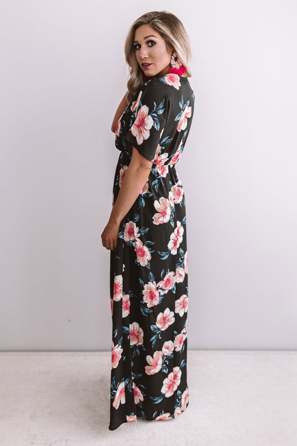 Waves In Maui Floral Maxi In Black