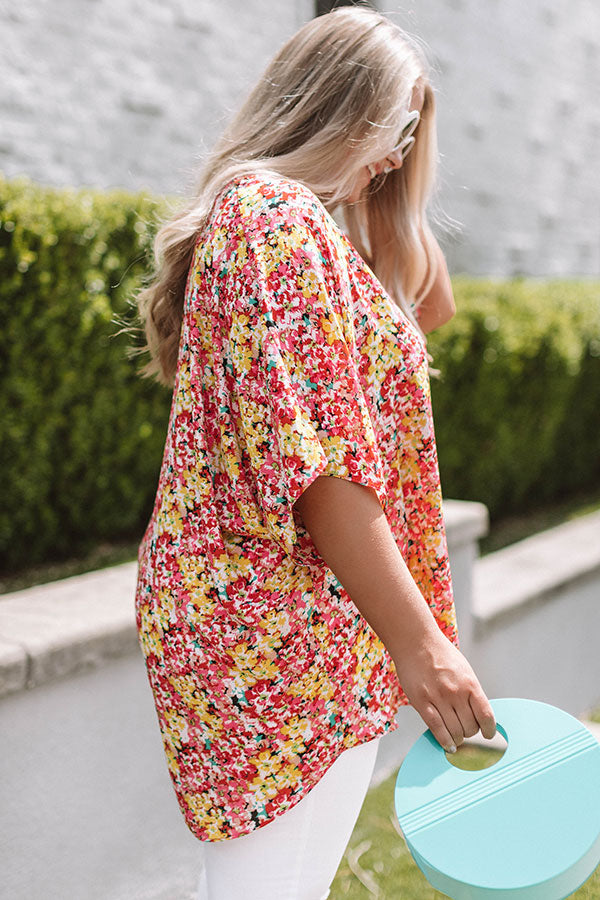 Fashion Queen Floral Shift Tunic in Yellow