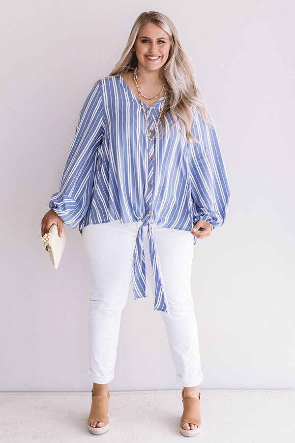 Chic In San Francisco Shift Top In Ocean Blue