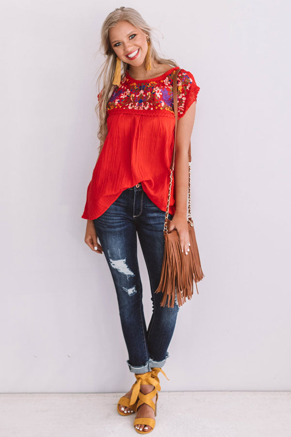 Summer State Of Mind Embroidered Top in Red